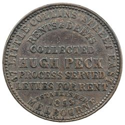 AUSTRALIA: AE penny token, [1862], KM-Tn189, legend on both sides, 67 LITTLE COLLINS STREET EAST
