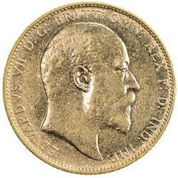 AUSTRALIA: Edward VII, 1901-1910, AV sovereign (7.98g), 1906-M. EF-AU