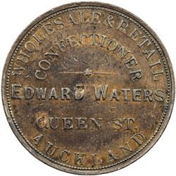 NEW ZEALAND: AE penny token, ND [1873]. VF-EF