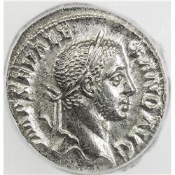 ROMAN EMPIRE: Severus Alexander, 222-235 AD, AR denarius. ICG AU55