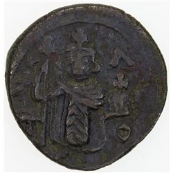 """ARAB-BYZANTINE: Standing Emperor, ca. 670-690, AE fals (3.39g), Damascus, """"year 17"""". VF"""