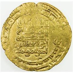 ABBASID: al-Muqtadir, 908-932, AV dinar (4.19g), Mah al-Basra, AH318. EF