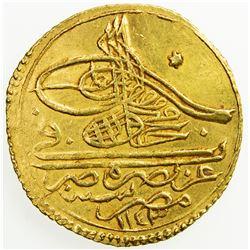 OTTOMAN EMPIRE: Mahmud I, 1730-1754, AV zeri mahbub (2.60g), Misr, AH1143. EF
