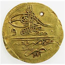 EGYPT: Mustafa III, 1757-1774, AV zeri mahbub (2.53g), Misr, AH1171