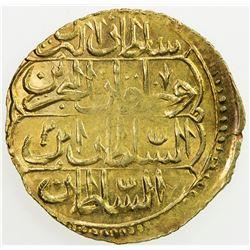 EGYPT: Abdul Hamid I, 1774-1789, AV zeri mahbub (2.60g), Misr, AH1187 year AH[119]2. EF-AU