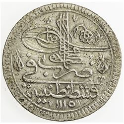 TURKEY: Ahmed III, 1703-1730, AR kurush (25.77g), Kostantiniye, AH1115. EF