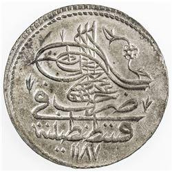 TURKEY: Abdul Hamid I, 1774-1789, AR piastre, Kostantiniye, AH1187 year 8. UNC