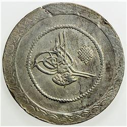 TURKEY: Mahmud II, 1808-1839, AR 5 kurush (24.84g), Kostantiniye, AH1223 year 10. EF