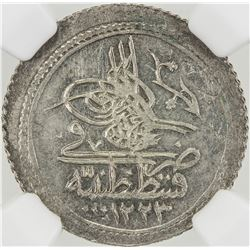 TURKEY: Mahmud II, 1808-1839, AR 10 para, Kostantiniye, AH1223 year 16. NGC MS63