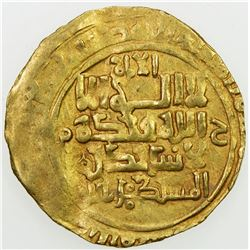 GREAT SELJUQ: Sanjar, as viceroy, 1099-1118, AV dinar (3.18g), Nishapur, DM. VF