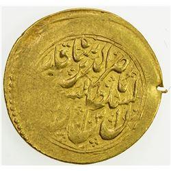 QAJAR: Nasir al-Din Shah, 1848-1896, AV toman (3.45g), Rasht, DM. VF