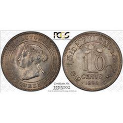 CEYLON: Victoria, 1837-1901, AR 10 cents, 1892. PCGS MS65