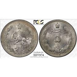IRAN: Reza Shah, 1925-1941, AR 5 rials, SH1312. PCGS MS62