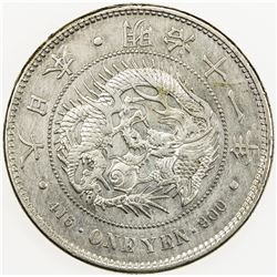 JAPAN: Meiji, 1868-1912, AR yen, year 11 (1878). EF