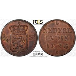 NETHERLANDS EAST INDIES: Willem I, 1815-1840, AE 1/4 stuiver, 1826. PCGS MS62