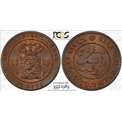 NETHERLANDS EAST INDIES: Willem III, 1849-1890, AE 1/2 cent, 1859. PCGS MS65