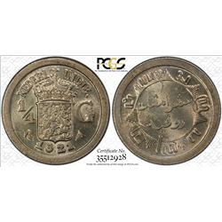 NETHERLANDS EAST INDIES: Wilhelmina, 1890-1948, AR 1/4 gulden, 1921. PCGS MS64