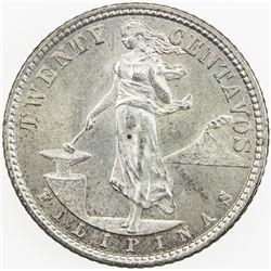 PHILIPPINES: AR 20 centavos, 1921. UNC