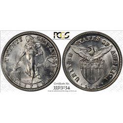 PHILIPPINES: AR 20 centavos, 1929-M. PCGS MS64