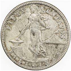 PHILIPPINES: AR 50 centavos, 1919-S. AU