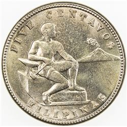 PHILIPPINES: 5 centavos, 1938-M. UNC