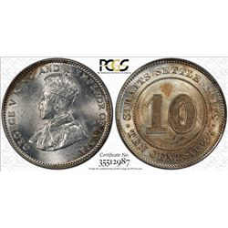 STRAITS SETTLEMENTS: George V, 1910-1936, AR 10 cents, 1927. PCGS MS64