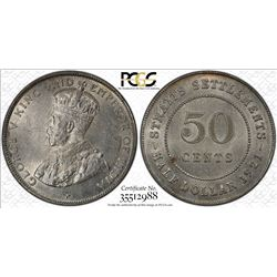 STRAITS SETTLEMENTS: George V, 1910-1936, AR 50 cents, 1921. PCGS MS64