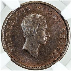 DENMARK: Frederik VI, 1808-1839, AE 2 skilling, 1809. NGC MS64