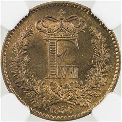 DENMARK: Frederik VII, 1848-1863, AE rigsmontskilling, 1856(o). NGC MS66