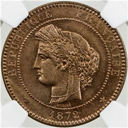 FRANCE: Third Republic, AE 10 centimes, 1872-A. NGC MS64