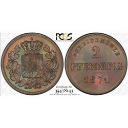 BAVARIA: Ludwig II, 1864-1886, AE 2 pfennig, 1871, PCGS MS66 Brown +