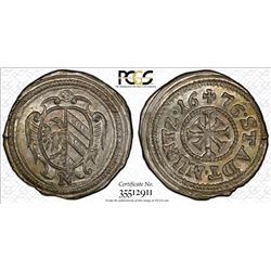 NUREMBERG: AR kreuzer, 1676. PCGS MS65