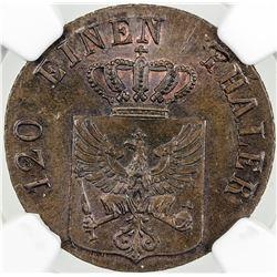 PRUSSIA: Friedrich Wilhelm III, 1797-1840, AE 3 pfennig, 1835-D. NGC MS65