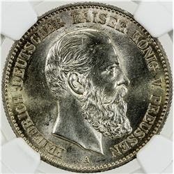 PRUSSIA: Friedrich III, 1888, AR 2 mark, 1888-A. NGC MS63