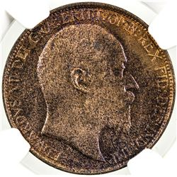 GREAT BRITAIN: Edward VII, 1901-1910, AE halfpenny, 1905. NGC MS64