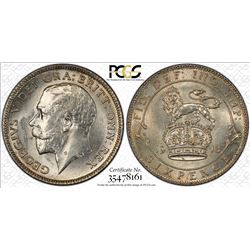 GREAT BRITAIN: George V, 1910-1936, AR sixpence, 1913, PCGS MS64