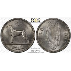 IRELAND: Republic, 6 pence, 1939. PCGS MS64