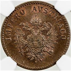 LOMBARDY-VENETIA: Franz Josef, 1848-1866, AE 5 centesimi, Venice, 1852-V