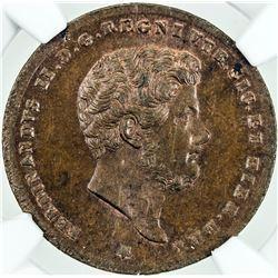 NAPLES & SICILY: Ferdinando II, 1830-1859, AE 2 tornesi, 1853. NGC MS64