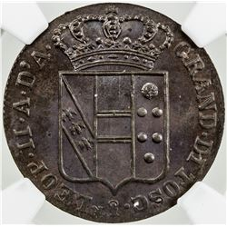 TUSCANY: Leopoldo II, 2nd reign, 1849-1859, AE 3 quattrini (2.17g), 1853