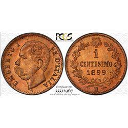 ITALY: Umberto I, 1878-1900, AE centesimo, 1899-R. PCGS MS65