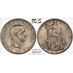 ITALY: Victor Emmanuel III, 1900-1946, AR 10 lire, 1936-R. PCGS MS63