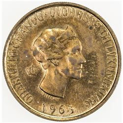 LUXEMBOURG: Charlotte, 1919-1964, AE 20 francs essai (3.29g), 1963. SP