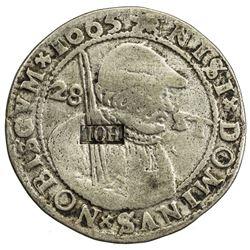NETHERLANDS: FRIESLAND: AR 28 stuivers (16.43g), [1693]. VF