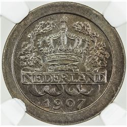 NETHERLANDS: 5 cents, 1907