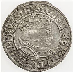POLAND: Sigismund I, 1506-1548, AR groschen (1.97g), 1534. AU