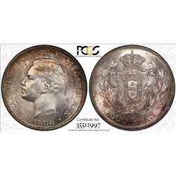 PORTUGAL: Manuel II, 1908-1910, AR 500 reis, 1908. PCGS MS63