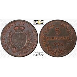 SAN MARINO: Republic, AE 5 centesimi, 1894-R, PCGS MS64 Brown