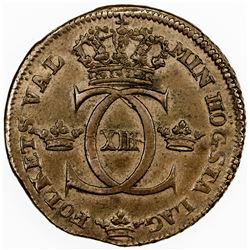SWEDEN: Karl XIII, 1809-1818, AE 1/2 skilling, 1816. EF