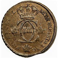 SWEDEN: Karl XIII, 1809-1818, AE 1/4 skilling, 1817. VF-EF